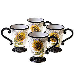 Certified International French Sunflower Mugs (Set of 4)