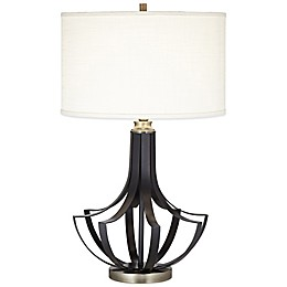 Fabius Table Lamp in Black with Linen Shade