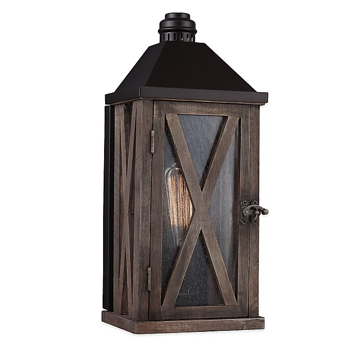Alternate image 1 for Feiss® Lumiere Wall-Mount Outdoor Lantern in Weathered Oak/Oil-Rubbed Bronze