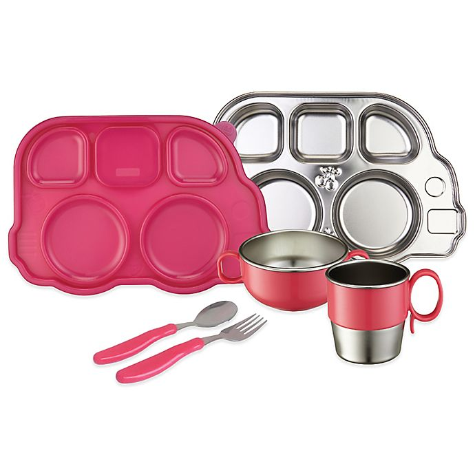 Alternate image 1 for Innobaby Din Din SMART™ 7-Piece Stainless Steel Mealtime Set in Pink