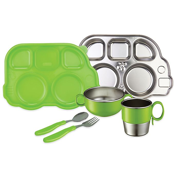 Alternate image 1 for Innobaby Din Din SMART™ 7-Piece Stainless Steel Mealtime Set in Green