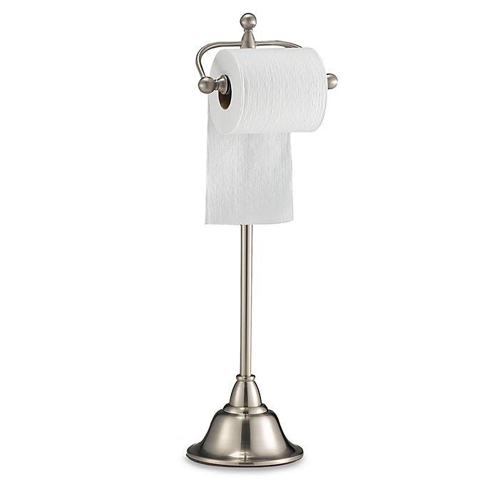 Chateau Pedestal Lantern Nickel: Deluxe Pedestal Satin Nickel Toilet Paper Stand
