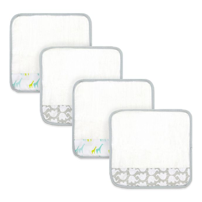 Alternate image 1 for Just Bath™ by Just Born® 4-Pack Giraffe/Elephant Washcloths in White/Grey/Green