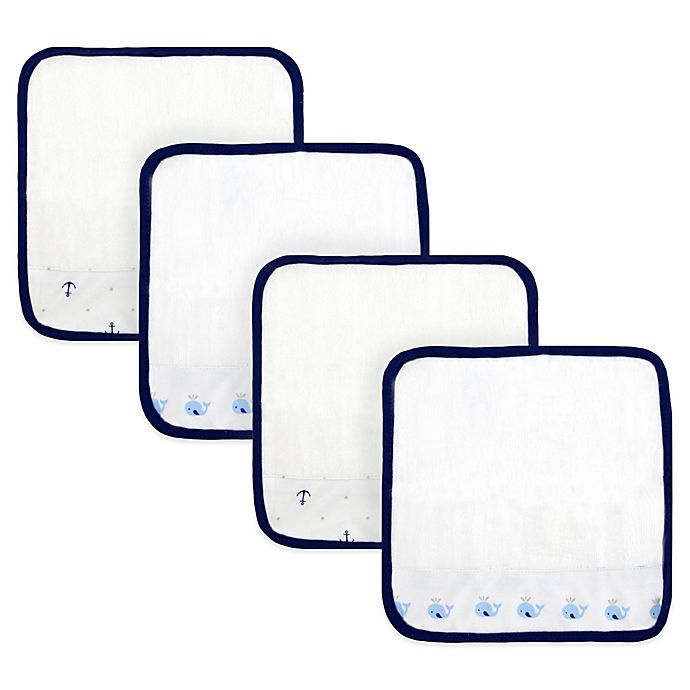 Alternate image 1 for Just Born® Whale/Anchor  4-Pack Washcloths in White/Navy