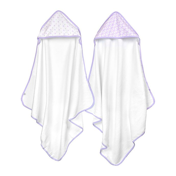 Alternate image 1 for Just Born® Tiki and Emma 2-Pack Hooded Towels in White/Lilac
