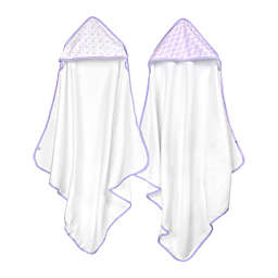Just Born® Tiki and Emma 2-Pack Hooded Towels in White/Lilac
