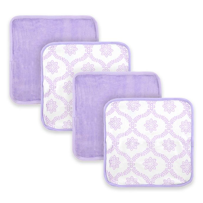 Alternate image 1 for Just Born® Trellis  4-Pack Washcloths in White/Lilac