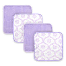 Just Born® Trellis  4-Pack Washcloths in White/Lilac