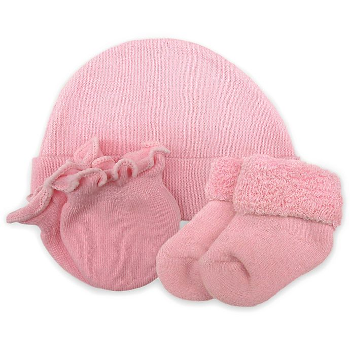 Alternate image 1 for So' Dorable Preemie Girl 3-Pack Beanie, Mittens & Booties Set