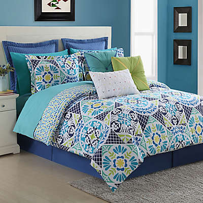 Fiesta® Tile Reversible Duvet Cover Set in Blue