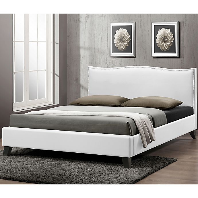 Alternate image 1 for Battersby Designer Queen Bed with Upholstered Headboard in White