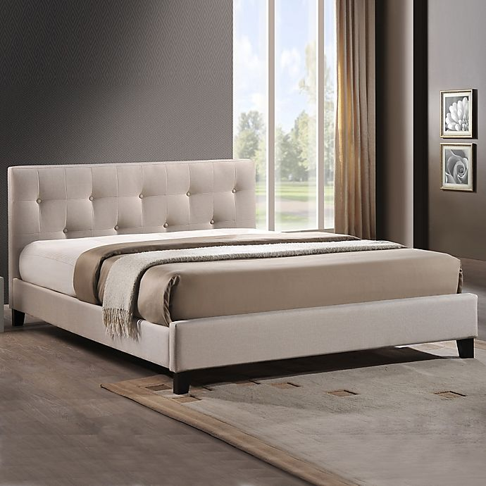 Alternate image 1 for Annette Designer Queen Bed with Upholstered Headboard in Light Beige