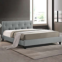 Annette Designer Queen Bed with Upholstered Headboard in Grey