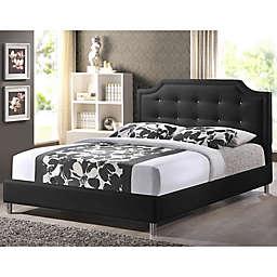 Carlotta Designer King Bed with Upholstered Headboard in Black