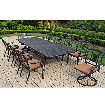 Oakland Living Victoria 11-Piece Extendable Outdoor Dining Set in Antique Black