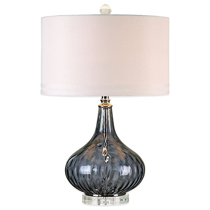 Alternate image 1 for Uttermost Sutera Water Glass Table Lamp in Polished Nickel with Linen Shade