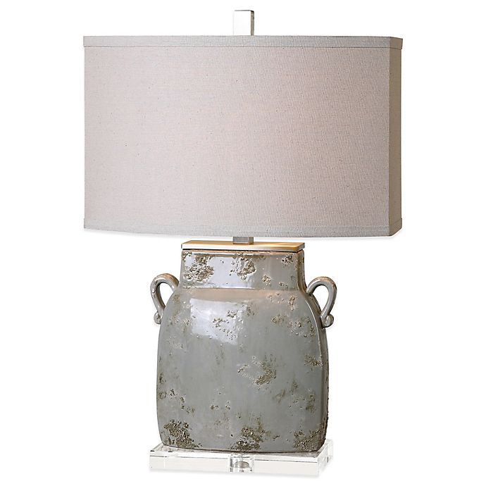 Alternate image 1 for Uttermost Melizzano Table Lamp in Ivory/Grey with Linen Shade