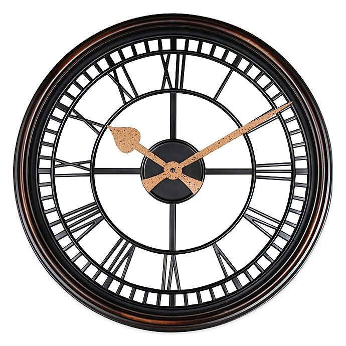 Alternate image 1 for Roman Grill Wall Clock in Bronze