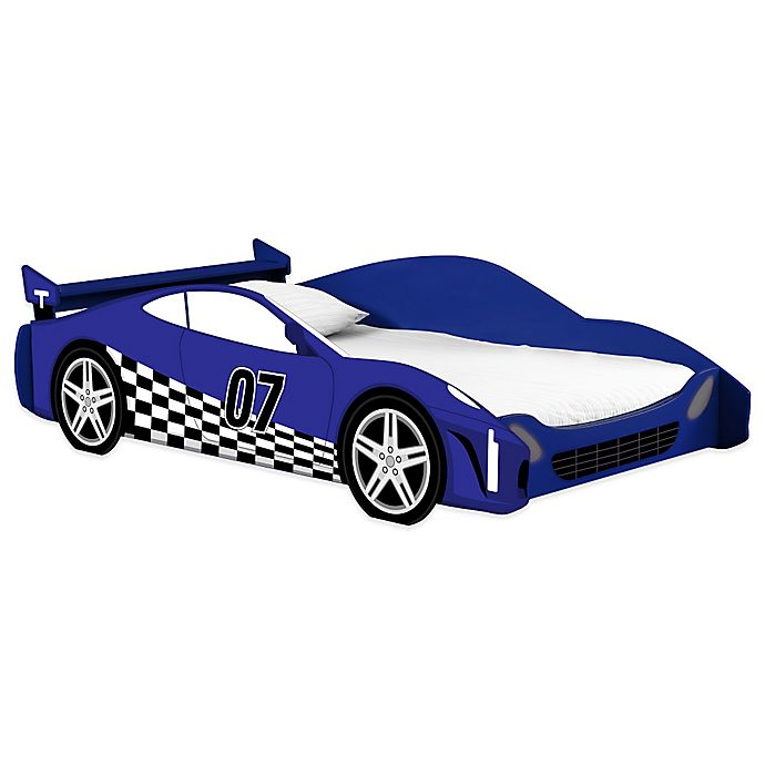 Alternate image 1 for Legare® Blue Racer Car Twin Bed in Blue