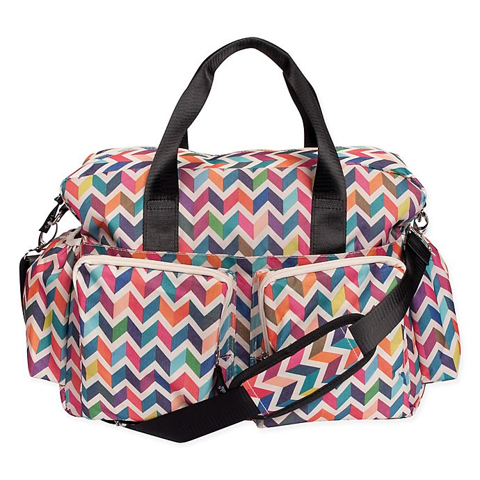 Alternate image 1 for Trend Lab French Bull Deluxe Chevron Duffle Diaper Bag in Multicolor
