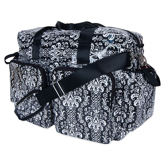 Alternate image 1 for Trend Lab Deluxe Midnight Fleur Demask Duffle Diaper Bag in Black/White