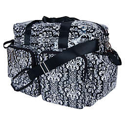 Trend Lab Deluxe Midnight Fleur Demask Duffle Diaper Bag in Black/White
