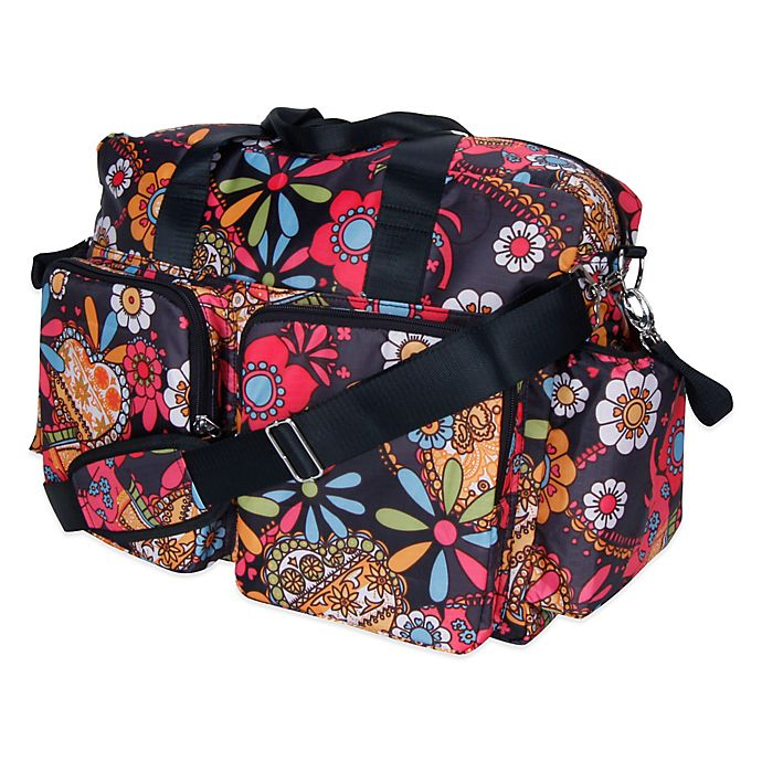 Alternate image 1 for Trend Lab Deluxe Bohemian Floral Duffle Diaper Bag in Multicolor