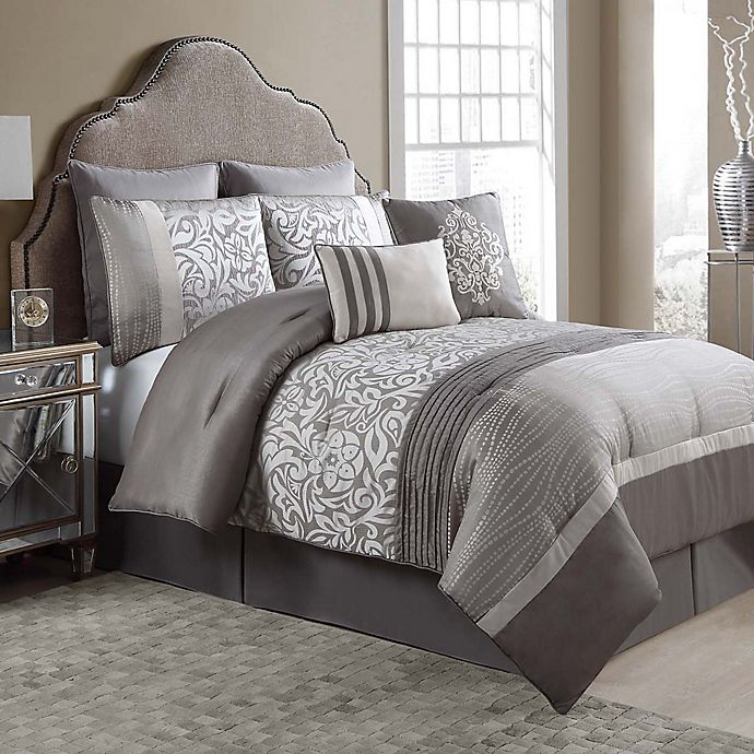 Arcadia 8-Piece Comforter Set in Taupe/Ivory | Bed Bath & Beyond