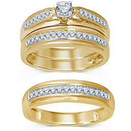 10K Yellow Gold Round-Cut Diamond Bridal Trio