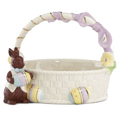 Lenox 174 Chocolate Easter Bunny Basket Figurine Bed Bath