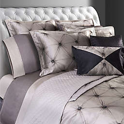 Villa Di Borghese Chesterfield Italian-Made Jacquard Queen Duvet Cover in Grey
