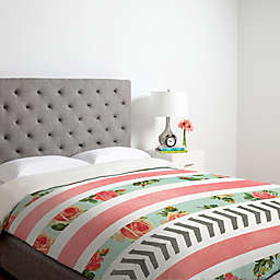 Deny Designs Allyson Johnson Floral Stripes And Arrows Duvet Cover