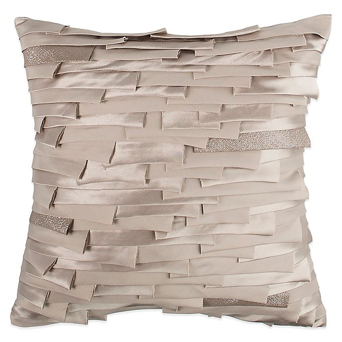 Raymond Waites Parker Ribbon Square Throw Pillow In Grey