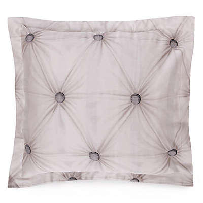 Villa Di Borghese Chesterfield Italian-Made Jacquard Oblong Pillow Sham  in Grey/White