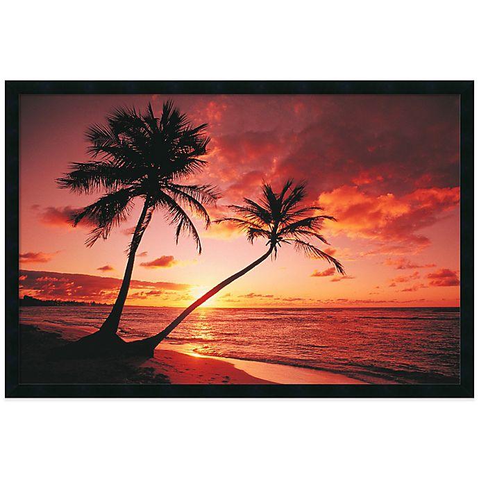 Tropical Beaches: Tropical Beach Sunset Framed Print Wall Art