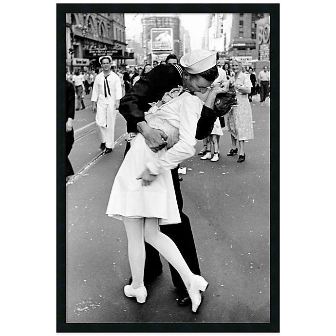 Alternate image 1 for Alfred Eisenstaedt Kissing on VJ Day Times in Square Framed Wall Art