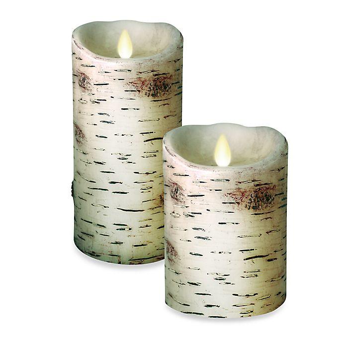 Alternate image 1 for Luminara® Birch Real-Flame Effect Pillar Candle