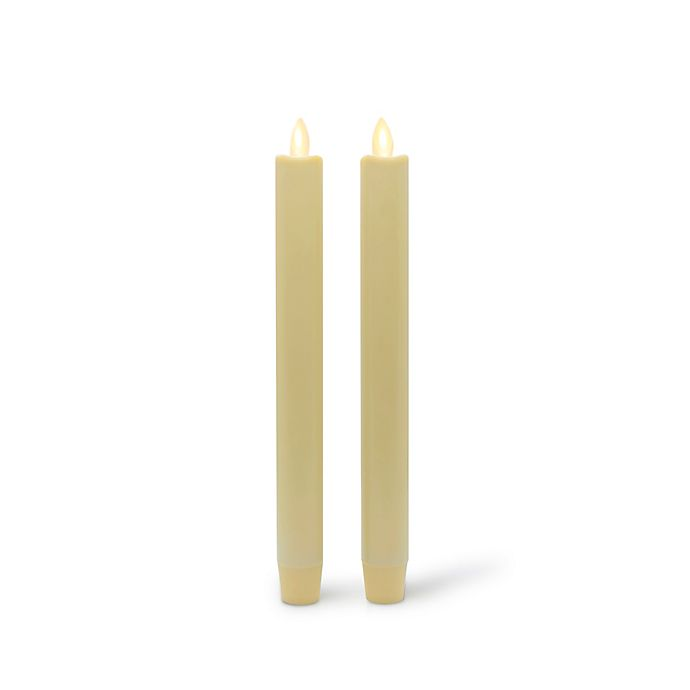Alternate image 1 for Luminara® Real-Flame Effect 8-Inch Battery Operated Taper Candles in Ivory (Set of 2)
