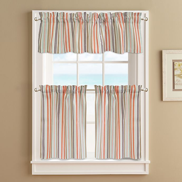 Alternate image 1 for Regatta Stripe 24-Inch Window Curtain Tier Pair in Coral