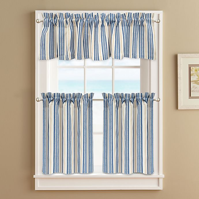 Alternate image 1 for Ropes 24-Inch Window Curtain Tier Pair in Blue
