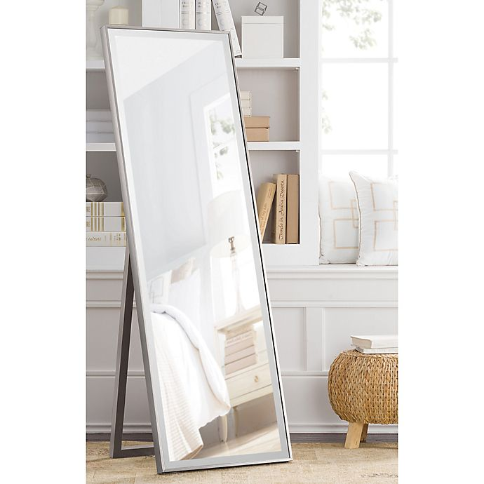 Alternate image 1 for Cheval 59.5-Inch x 19-Inch Thin Profile Floor Standing Mirror in Pewter