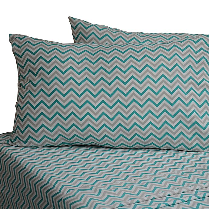 Alternate image 1 for 330-Thread-Count 100% Cotton Sateen Standard Pillowcases in White Chevron (Set of 2)