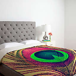 Deny Designs Shannon Clark Peacock 2 King Duvet Cover in Pink