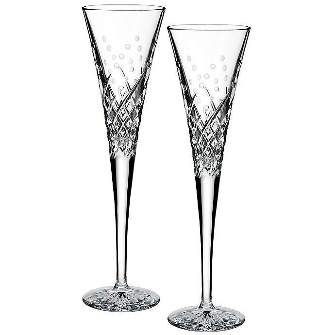 Alternate image 1 for Waterford® Wishes Happy Celebrations Toasting Flutes (Set of 2)