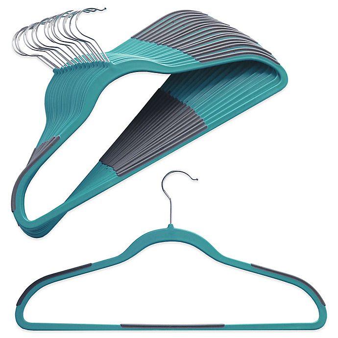 Alternate image 1 for ORG™ Slim Grips™ Hangers in Aqua (Set of 16)