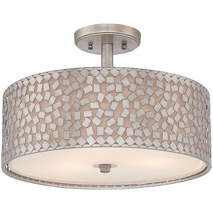 Alternate image 1 for Quoizel Confetti Large Semi-Flush Mount in Old Silver with White Linen Shade