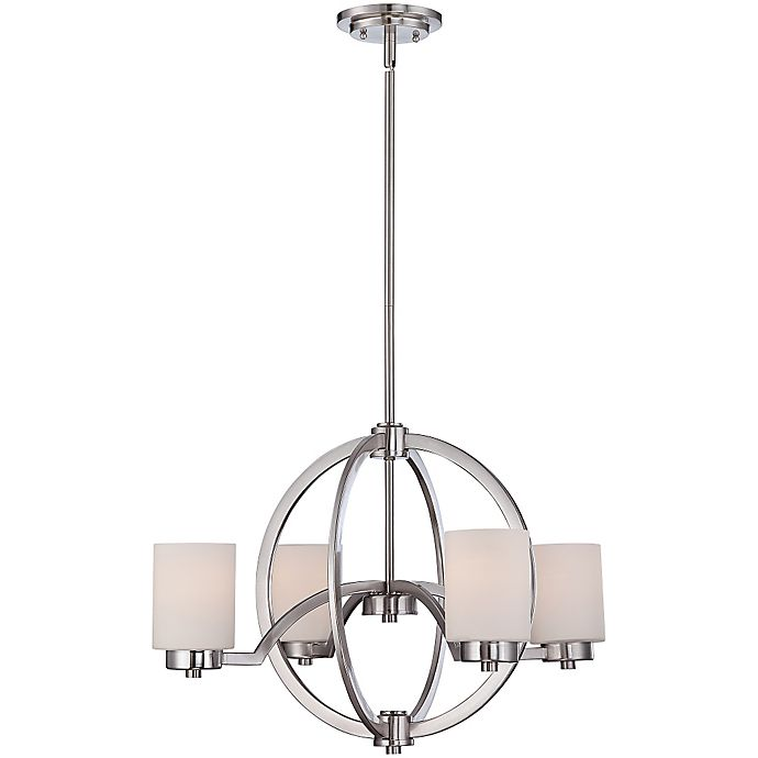 Alternate image 1 for Quoizel Celestial 4-Light Chandelier in Brushed Nickel with Opal-Etched Glass Shade