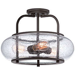 Quoizel® Trilogy 3-Light Semi-Flush Mount Large Ceiling Light with Seedy Glass Shade