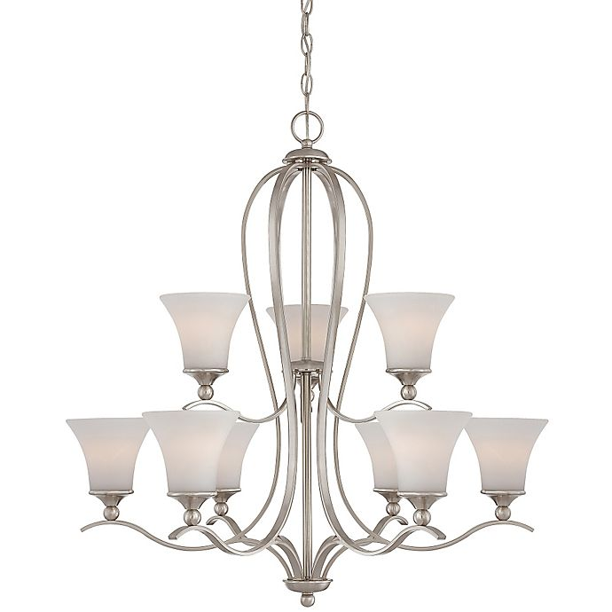 Alternate image 1 for Quoizel Sophia Ceiling-Mount Chandelier in Brushed Nickel with Opal Etched-Glass Shade