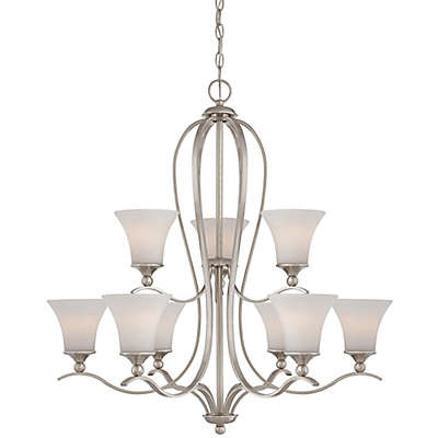 Quoizel Sophia Ceiling-Mount Chandelier in Brushed Nickel with Opal Etched-Glass Shade